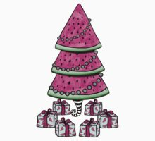 Aussie Xmas Design on Yellow #2 Watermelon Tree with Presents Kids Tee