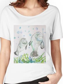 Mother Manatee and baby by Liz H Lovell Women's Relaxed Fit T-Shirt