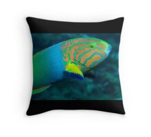 Green Moon Wrasse Throw Pillow