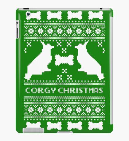 Christmas sweater - corgi christmas green iPad Case/Skin