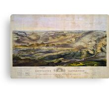 Vintage Map of The Gettysburg Battlefield (1863)  Canvas Print