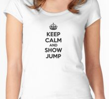 KEEP CALM AND SHOW JUMP Women's Fitted Scoop T-Shirt