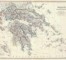 Vintage Map of Greece (1861) by BravuraMedia