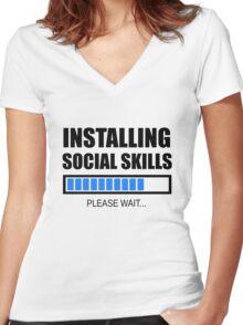 Installing Social Skills... Please Wait Women's Fitted V-Neck T-Shirt
