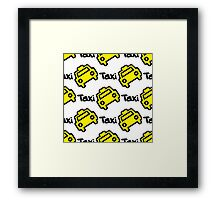 Seamless pattern yellow taxi Framed Print