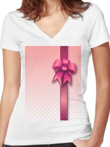 Pink Present Bow Women's Fitted V-Neck T-Shirt