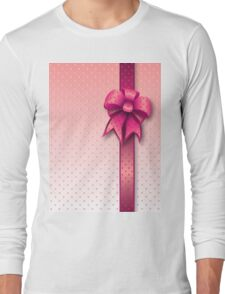 Pink Present Bow Long Sleeve T-Shirt