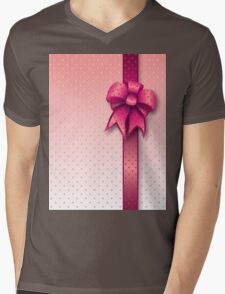 Pink Present Bow Mens V-Neck T-Shirt