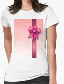 Pink Present Bow Womens Fitted T-Shirt