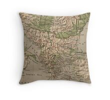 Vintage Physical Map of Greece (1880) Throw Pillow