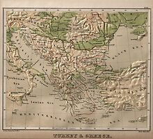 Vintage Physical Map of Greece (1880) by BravuraMedia