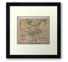 Vintage Physical Map of Greece (1880) Framed Print