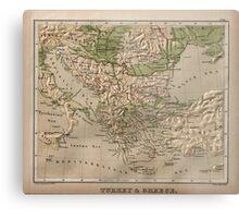 Vintage Physical Map of Greece (1880) Metal Print