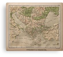 Vintage Physical Map of Greece (1880) Canvas Print
