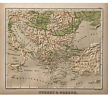 Vintage Physical Map of Greece (1880) Photographic Print