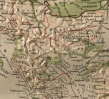 Vintage Physical Map of Greece (1880) Sticker
