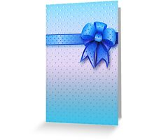Blue Present Bow Greeting Card