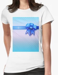 Blue Present Bow Womens Fitted T-Shirt