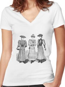 Victorian Ladies Women's Fitted V-Neck T-Shirt