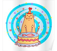Birthday cat with a cake. Poster