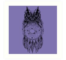 Dreamy Owl_Black Art Print