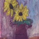 Sunflowers in a rusty red watering can by Tine  Wiggens