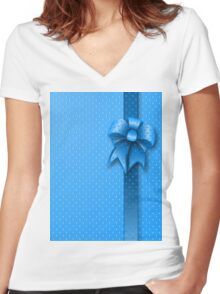 Blue Present Bow Women's Fitted V-Neck T-Shirt