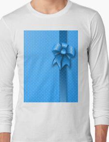 Blue Present Bow Long Sleeve T-Shirt