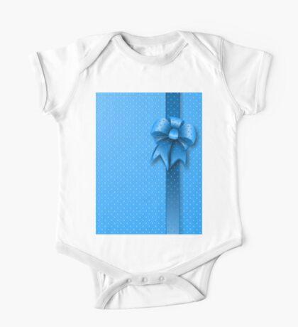 Blue Present Bow One Piece - Short Sleeve
