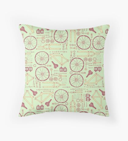 Bicycle Parts Throw Pillow