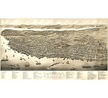 Vintage Pictorial Map of Halifax (1879) Photographic Print