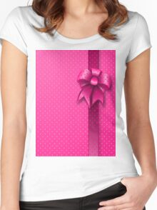 Pink Present Bow Women's Fitted Scoop T-Shirt