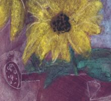 Sunflowers in a rusty red watering can Sticker