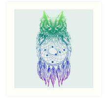 Dreamy Owl_Multi Blue Art Print