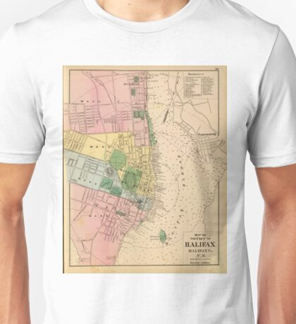 Vintage Map of Halifax Nova Scotia (1878) Unisex T-Shirt