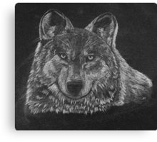 Lone Wolf Scratch Art Canvas Print