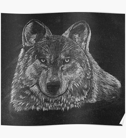 Lone Wolf Scratch Art Poster