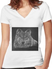 Lone Wolf Scratch Art Women's Fitted V-Neck T-Shirt