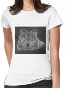 Lone Wolf Scratch Art Womens Fitted T-Shirt