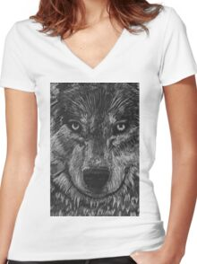 Portrait: Lone Wolf Women's Fitted V-Neck T-Shirt