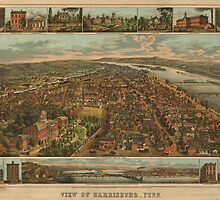 Vintage Pictorial Map of Harrisburg PA (1855) by BravuraMedia