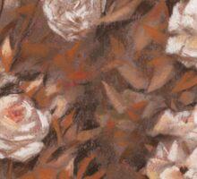 """Rose garden"", classical floral design, earth shades  Sticker"