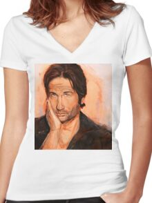 Hank Moody Women's Fitted V-Neck T-Shirt