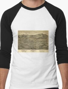 Vintage Pictorial Map of Helena Montana (1875)  Men's Baseball ¾ T-Shirt