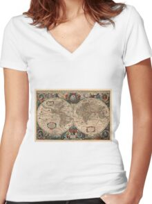 Vintage Map of The World (1641)  Women's Fitted V-Neck T-Shirt