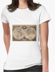 Vintage Map of The World (1641)  Womens Fitted T-Shirt