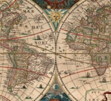 Vintage Map of The World (1641)  Sticker