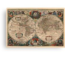 Vintage Map of The World (1641)  Canvas Print