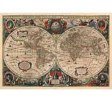 Vintage Map of The World (1641)  Photographic Print