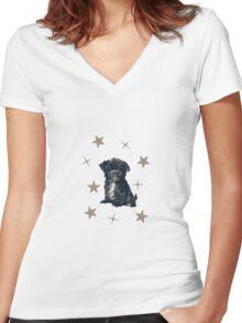Little dog among the stars Women's Fitted V-Neck T-Shirt